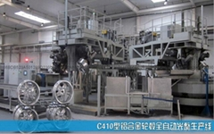 Automatic production line for aluminum alloy wheel polishing