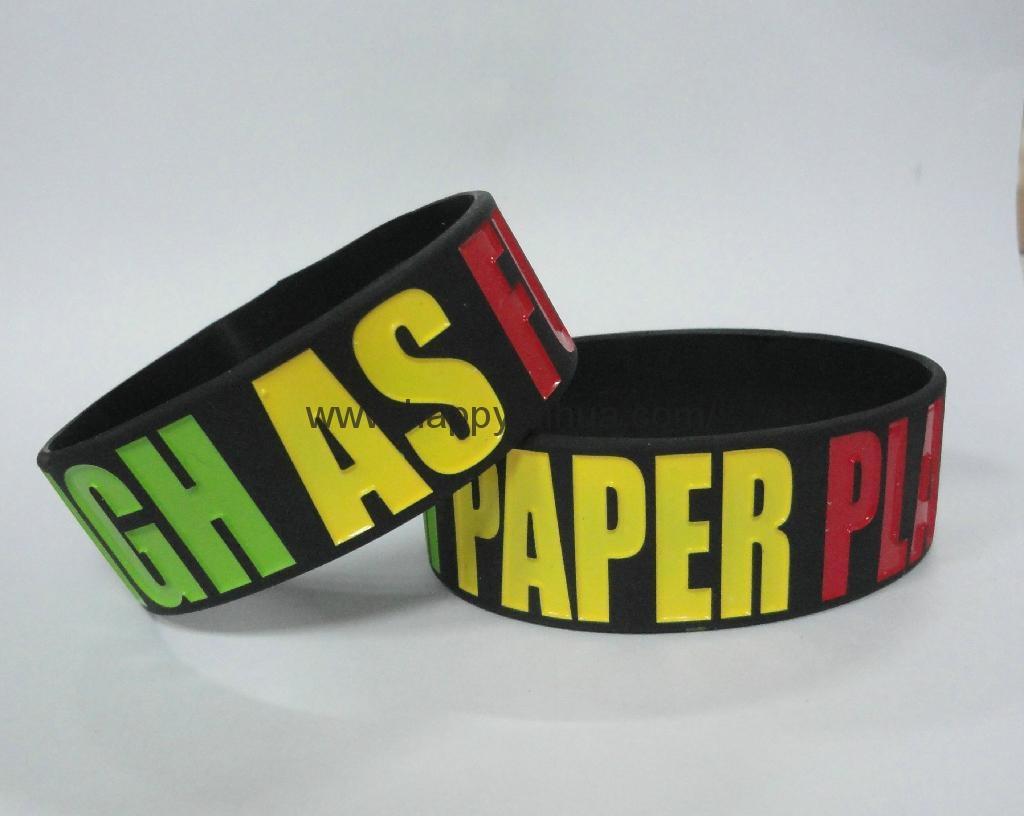 custom one inch printed silicone bracelet,wristband 2