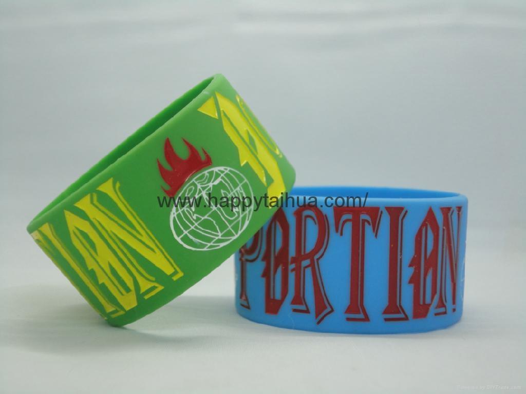 custom one inch printed silicone bracelet,wristband 3