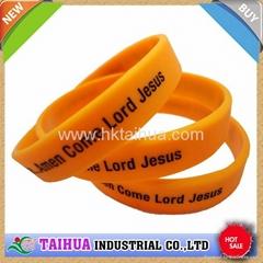 Debossed color filled silicone bracelet