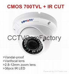 vandal proof 1/4 Color CMOS 700TVL CCTV Camera with IR CUT white color Dome var