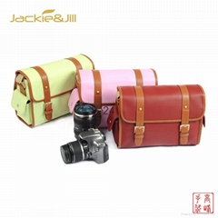 Candy Color DSLR Leather Camera Shoulder Messenger Bag Canon Nikon Sony