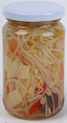 glass bottled soy bean sprout mixed with vegetables