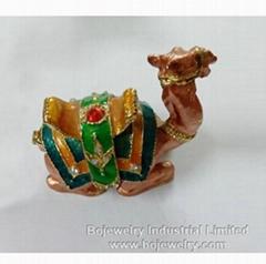 100% handmade enamel Camel metal jewelry box