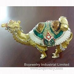 enamel metal Camel trinket box jewelry cases