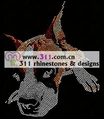 311 animal dog hot-fix heat transfer rhinestone motif design