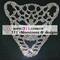 311 animal tiger hot-fix heat transfer rhinestone motif design