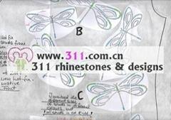 311 dragonfly hot-fix heat transfer rhinestone motif design 2