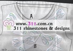 311 dragonfly hot-fix heat transfer rhinestone motif design 3