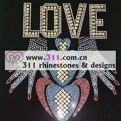311 letters hot-fix heat transfer rhinestone motif design 2