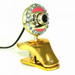 Luxury Laptop Clip Webcam PC Camera Crystal LED Clip PC USB 360 wired web camera