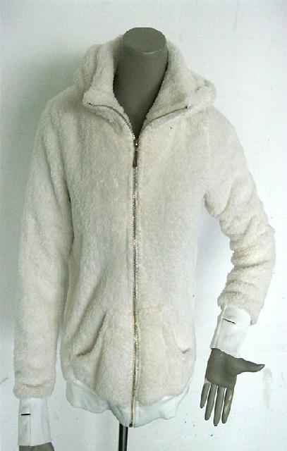 熊貓米黃長毛絨帽子有內領拉鍊長袖保暖衛衣外套 1