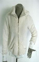 熊猫米黄长毛绒帽子有内领拉链长袖保暖卫衣外套