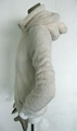 熊貓米黃長毛絨帽子有內領拉鍊長袖保暖衛衣外套 2