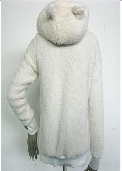 熊貓米黃長毛絨帽子有內領拉鍊長袖保暖衛衣外套 3