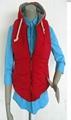 紅色無袖有帽絨毛布里充棉保暖秋