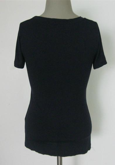 高弹牛奶丝紧身短袖U形低领女式打底衫 尽显美丽动人曲线 2