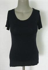 高彈牛奶絲緊身短袖U形低領女式打底衫 盡顯美麗動人曲線