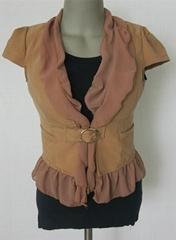 新款杏色韩版雪纺荷叶边领日字扣女装短袖修身外套