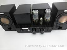 Vacuum Tube Bluetooth Amplifier with Wood Speakers set 2