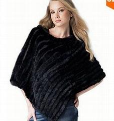 Rabbit fur knit shawl