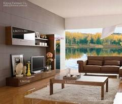 Lisbon living room furniture walnut veneer coffee table TV stand double dresser