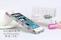 2014  款 iPhone5心心相印手機保護套 景泰藍鑲鑽邊框 陶瓷機殼 1