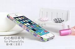 2014  款 iPhone5心心相印手機保護套 景泰藍鑲鑽邊框 陶瓷機殼