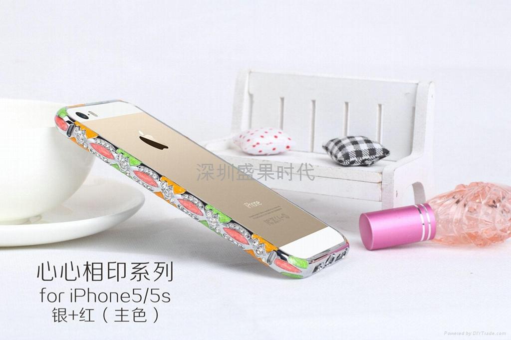 2014  款 iPhone5心心相印手機保護套 景泰藍鑲鑽邊框 陶瓷機殼 2