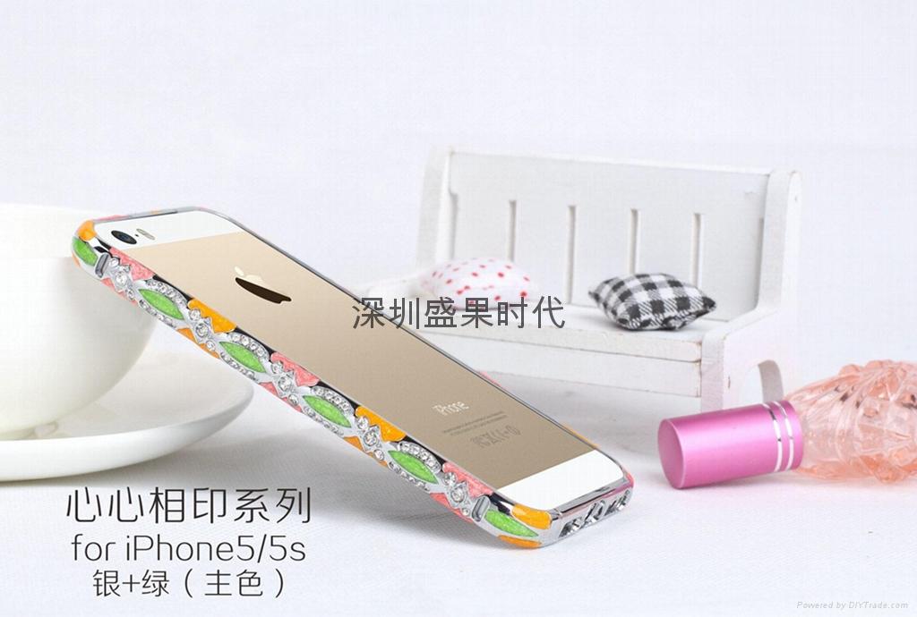 2014  款 iPhone5心心相印手機保護套 景泰藍鑲鑽邊框 陶瓷機殼 3