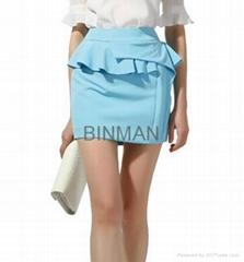 European corrugated edge penciil skirt