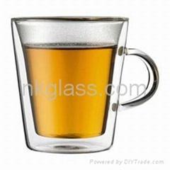 double wall glass tea mug