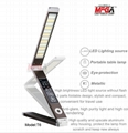 DC12V foldable LED table lamp with 3-C light modes and LCD calendar