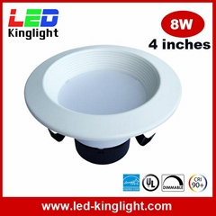 LED Retrofit Downlight, 4 inch, 8W, AC120V, Triac Dimmable, UL, Energy Star List