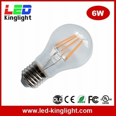 6W Filament LED Bulb Lights, E27 Base, 360 Degree Beam Angle, 2700K, Glass Cover