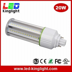 G24 LED bulb corn light, 20W, IP64 dustproof, clear PC cover