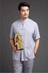 中國風男士唐裝中老年立領短袖男上衣標準中式民族服裝夏亞麻襯衫