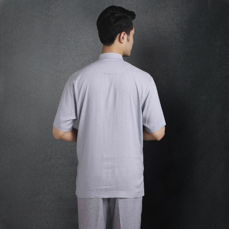 中國風男士唐裝中老年立領短袖男上衣標準中式民族服裝夏亞麻襯衫 2