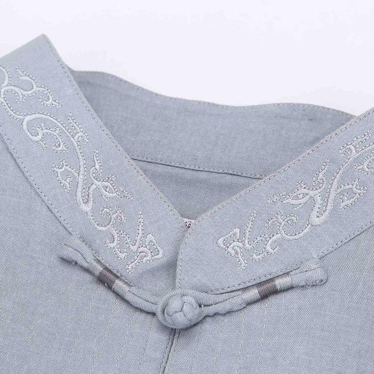 中國風男士唐裝中老年立領短袖男上衣標準中式民族服裝夏亞麻襯衫 3