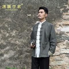 雙面唐裝男中老年春秋季立領漢服老粗布棉麻外套休閑中式大碼長袖
