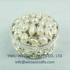 floret trinket box jewelry box pewter metal craft gifts