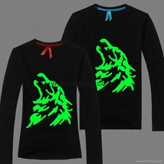 Fashion glow in the dark printing t-shirt no label in china
