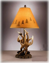 Deer Antlers Table Lamps Cabin Wood