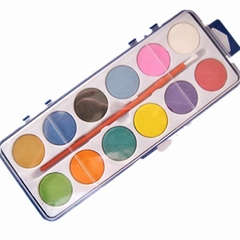 a palette with 12 colors watercolor and a brush
