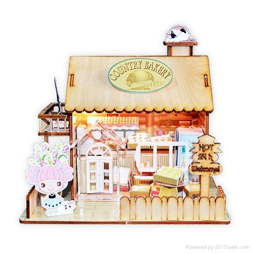 wooden model  plan toy   puzzle 3D   DIY house 1