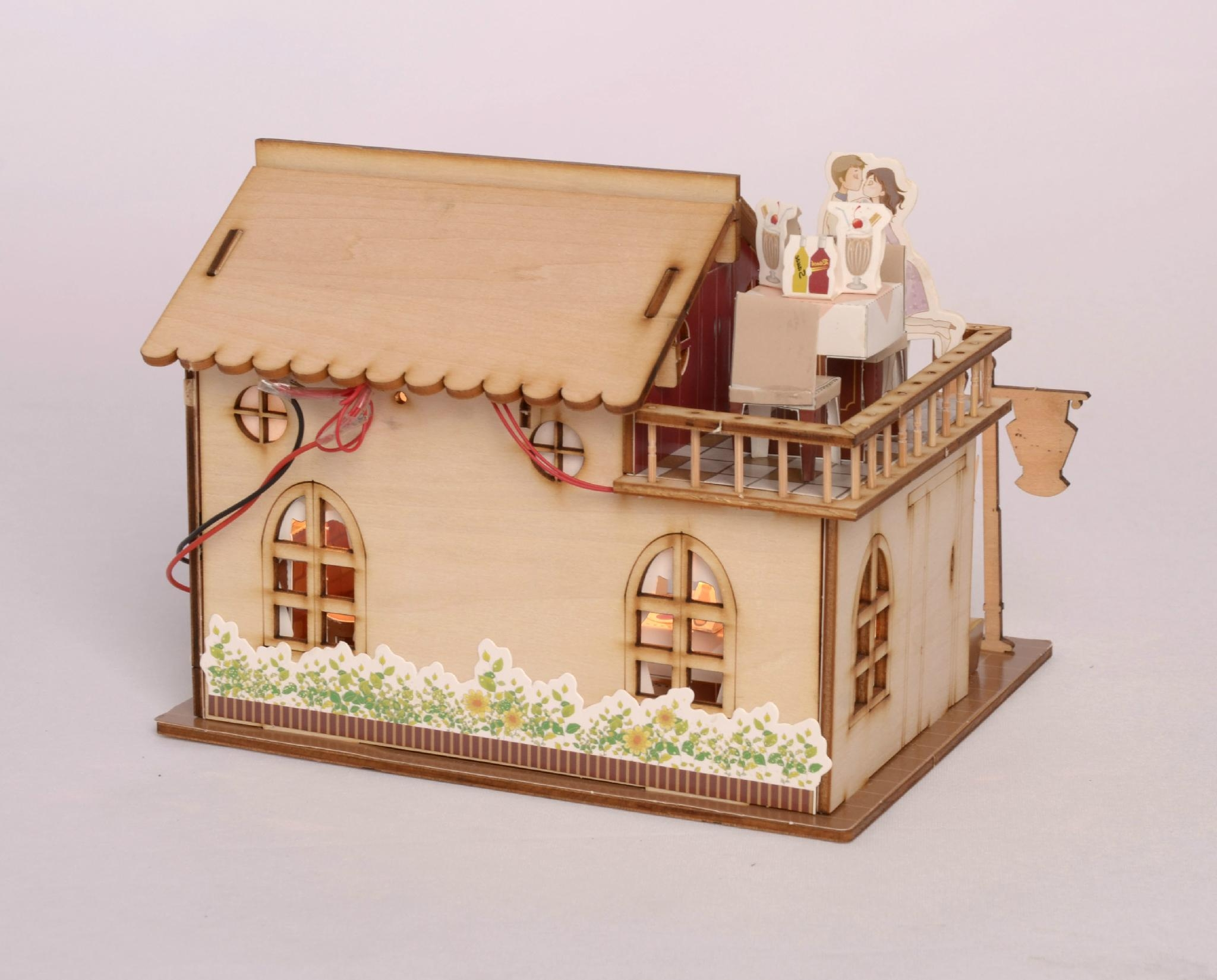 Restaurant building plan toy wood model diy house bm 518 for Diy home building plans