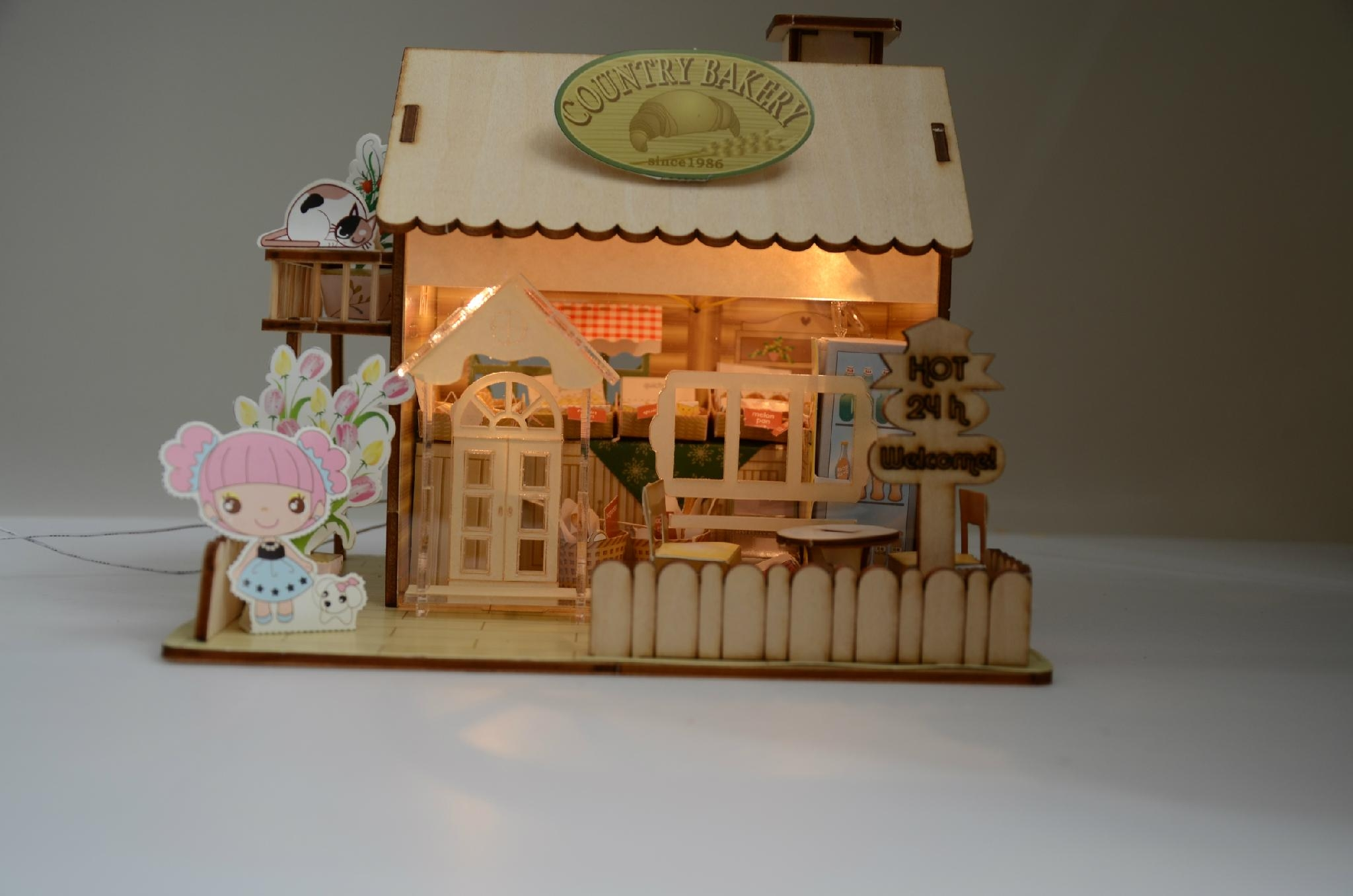 wooden model  plan toy   puzzle 3D   DIY house 4