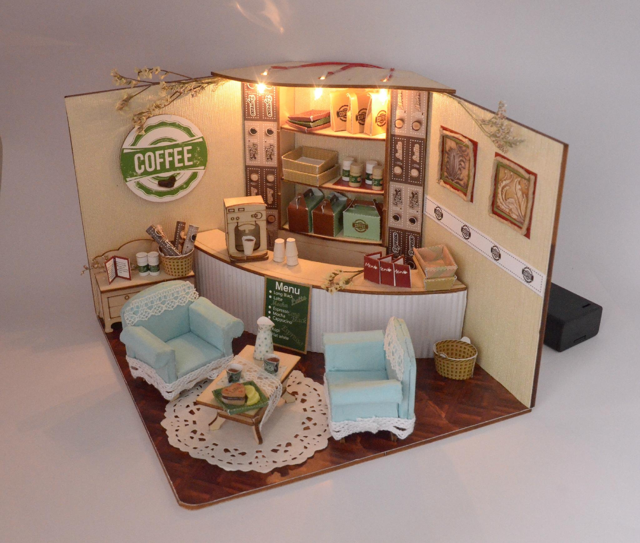 Coffee Shop Doll House Model Building Plan Toy Puzzle 3D
