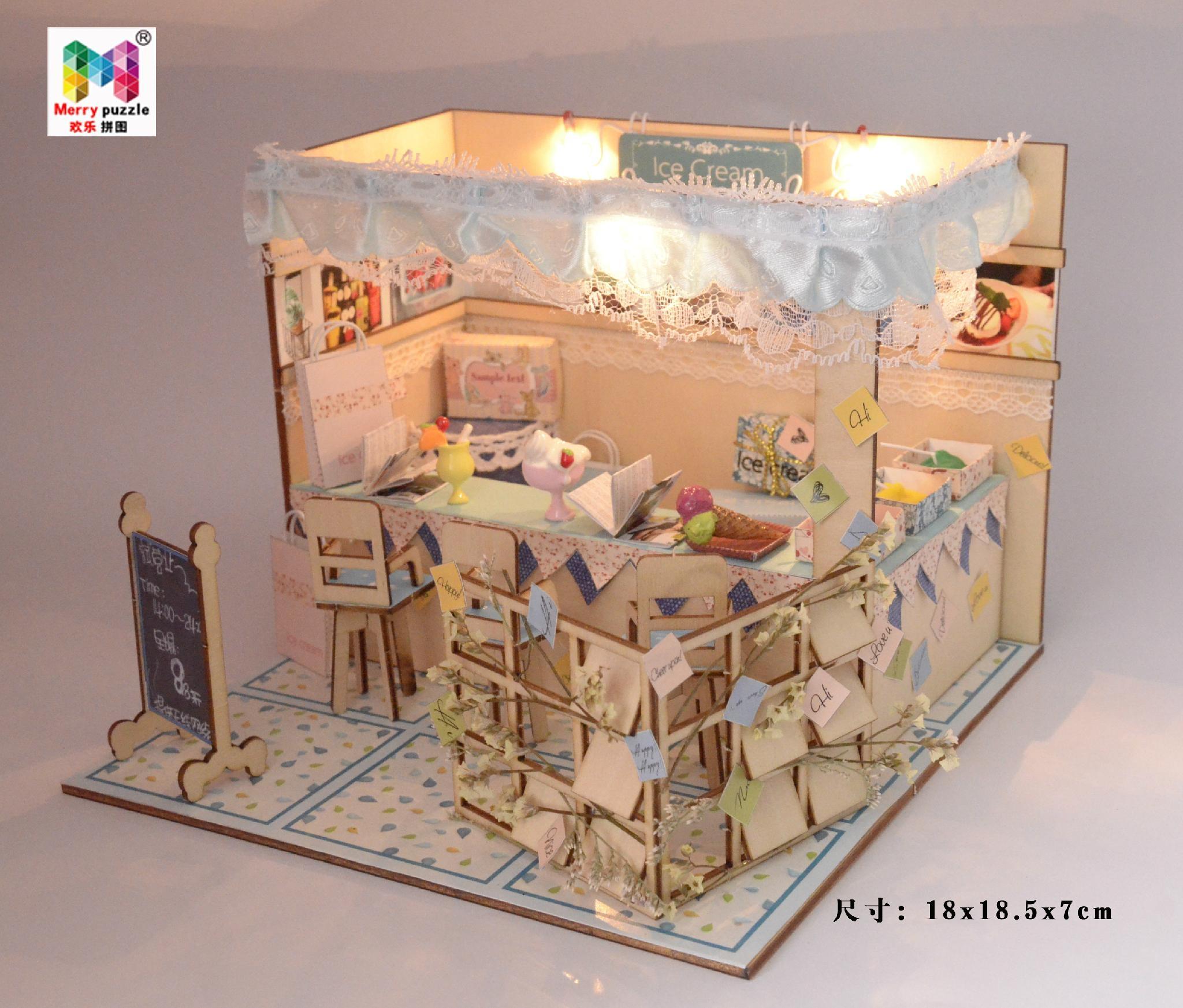 Ice cream house   plan toy   model building   DIY house  wooden  art 4