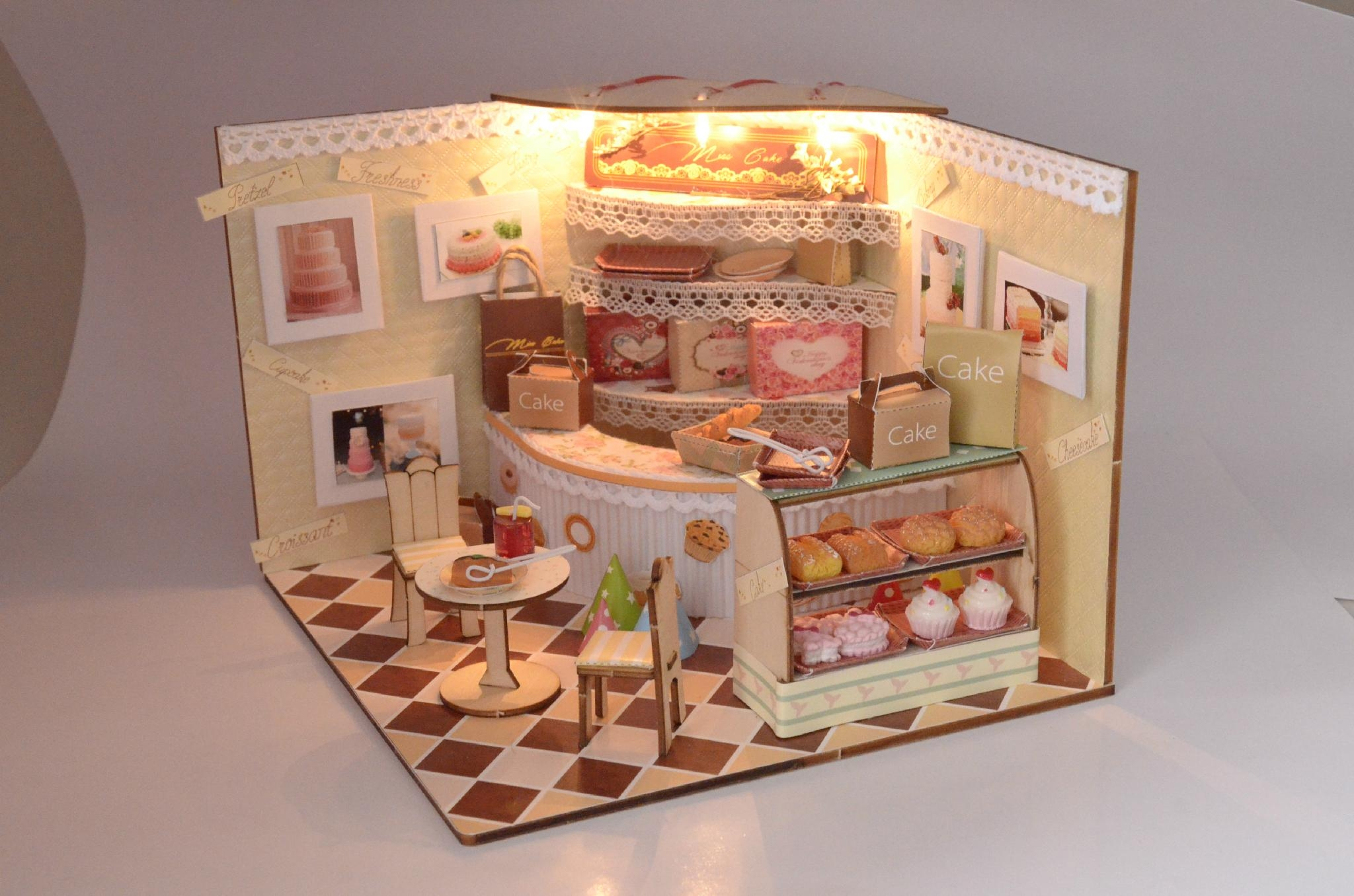 Dollhouse Design Cake : cake shop doll house plan toy model building DIY house ...